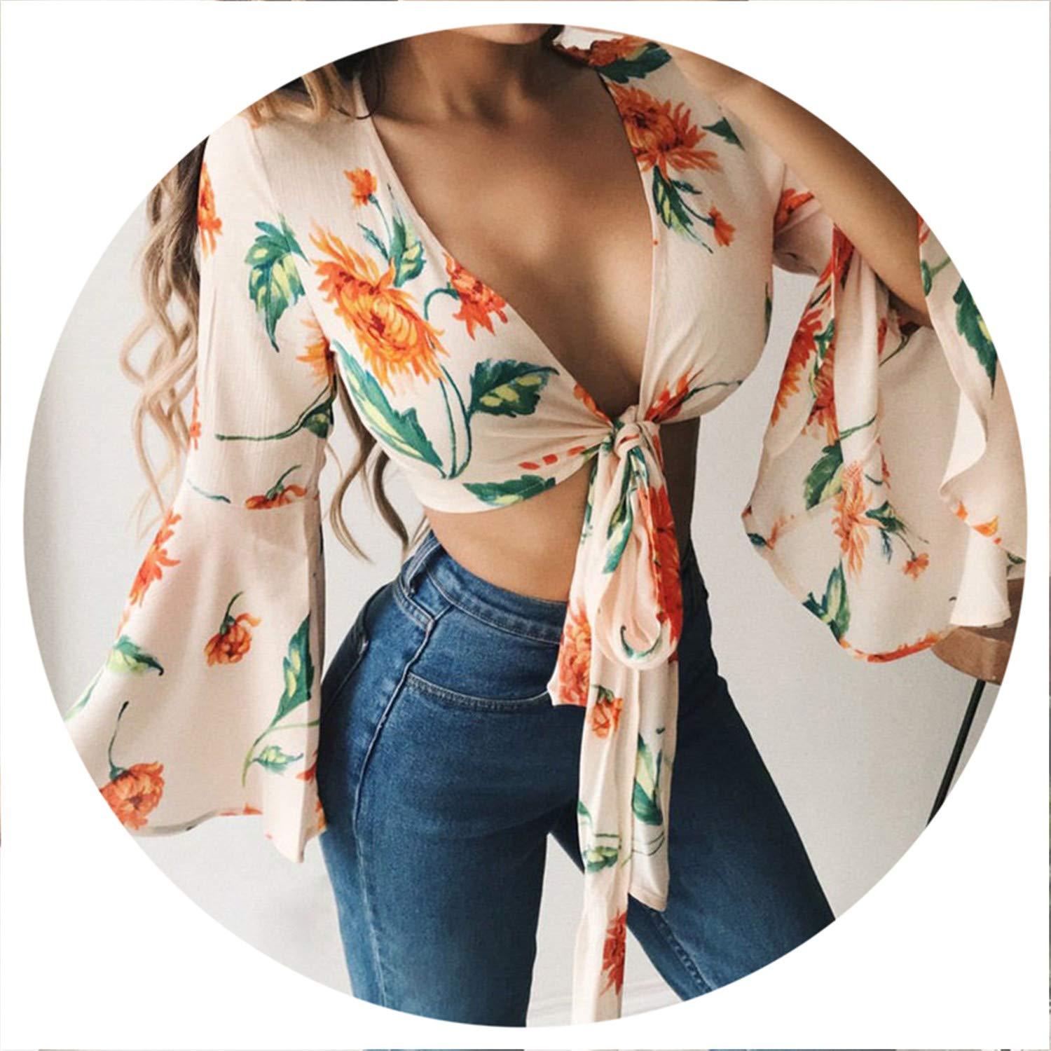 Summer Floral Boho Blouse Women Chiffon Shirts Long Sleeve Bandage Bow V Blouses