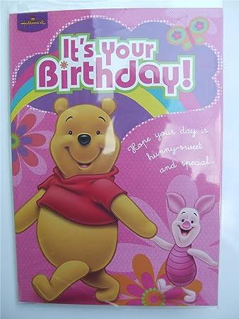 Disney Pooh Bear Piglet Birthday Card By Hallmark Amazon