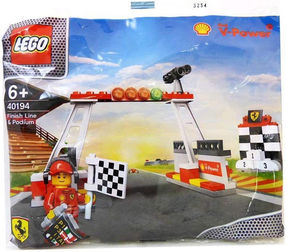 New Shell V-Power Lego Collection ~ Finish Line, Podium & Minifigure ~ 40194 by LEGO