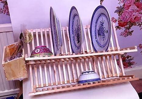 Plato y cubertería combinada estante Bandeja para escurreplatos (madera de pino, 35 cm)