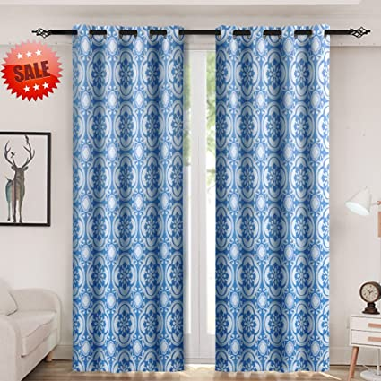 Amazon Haperlare Medallion Blackout Curtains Floral Print Extraordinary Pattern Curtains