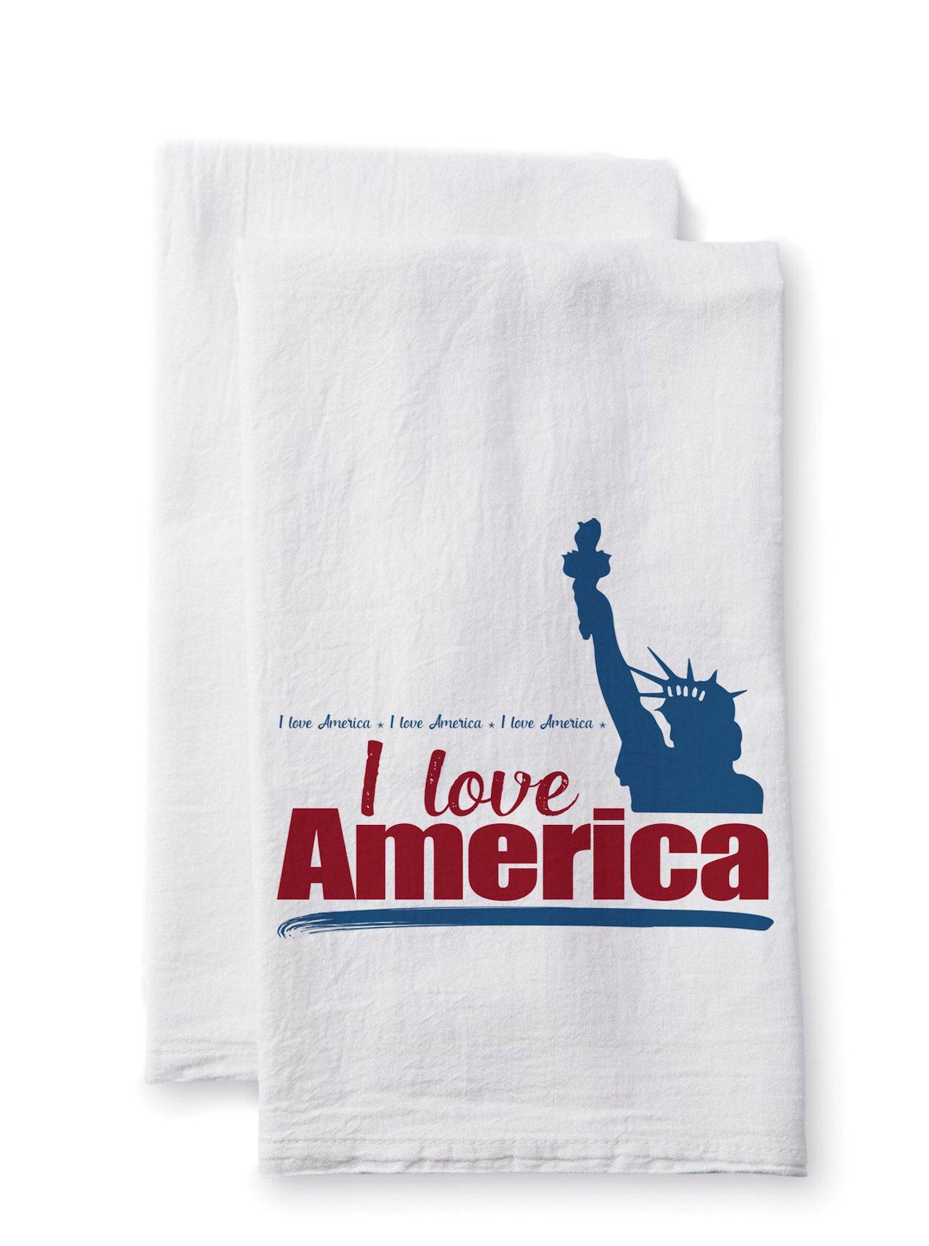 Sullivans Uplifting Linens Towels I Love America, 28 x 28 Inches, White (ULTL118) 2-Pack