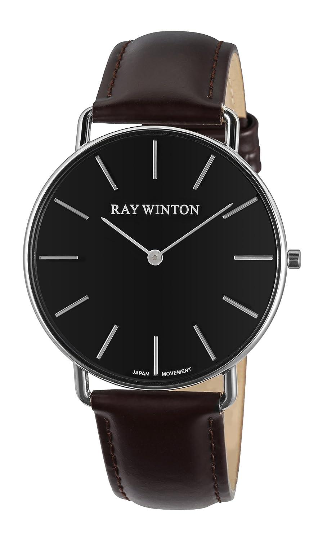 Ray Winton Herren DÜnn Analog schwarz Zifferblatt Burgund echtes Leder Gurt Slim Armbanduhr