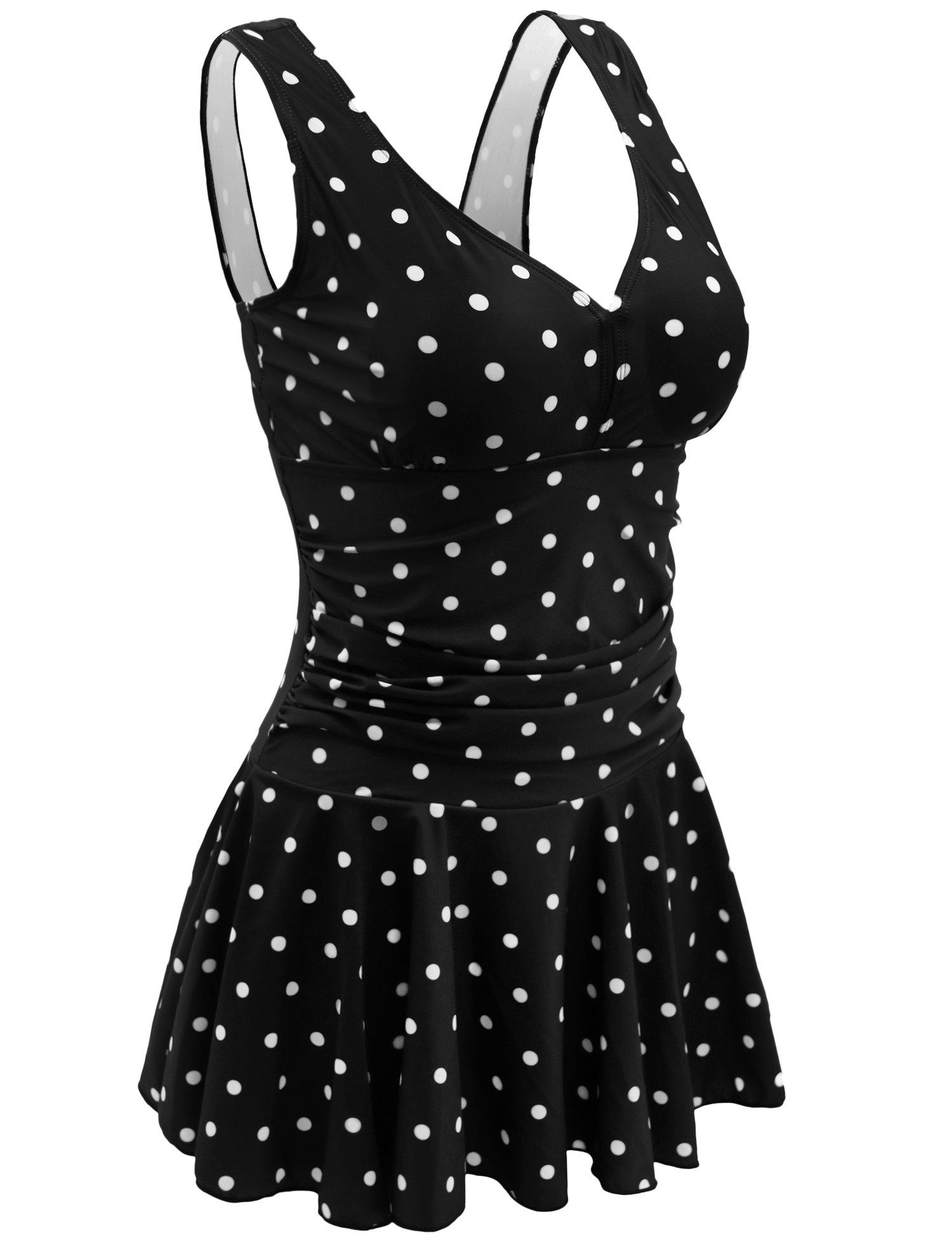 AONTUS Swim Dress Polka Dot Floral Shaping Body One Piece Swim Dresses Swimsuit (XXL,Black Polka Dot)