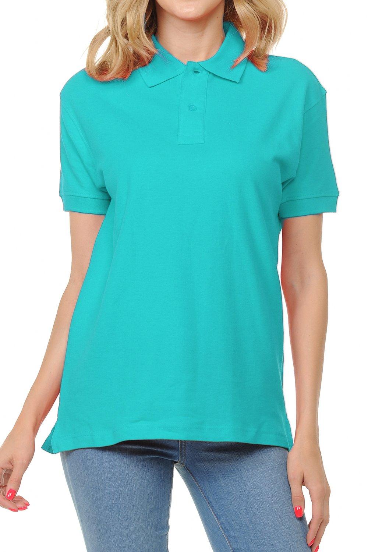 FRESH TEE Women's Adult Unisex 100% Cotton Classic Fit Polo Shirt Short Sleeve for Daily Work School Uniform (Medium, Turquoise)