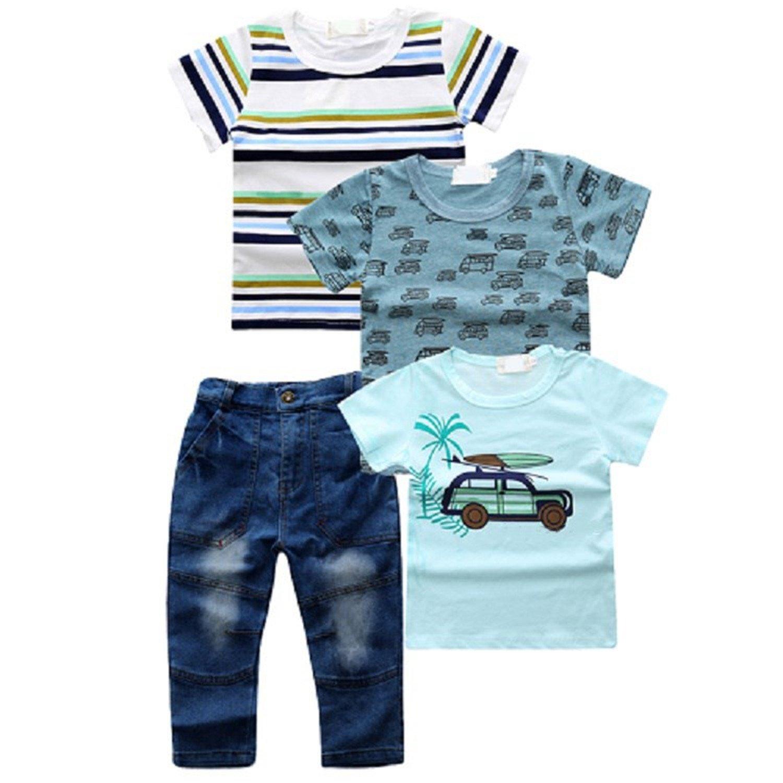 Nerefy Boys Clothing Sets Cotton Short Sleeve T-Shirt Denim Pants 4 Pcs Suits
