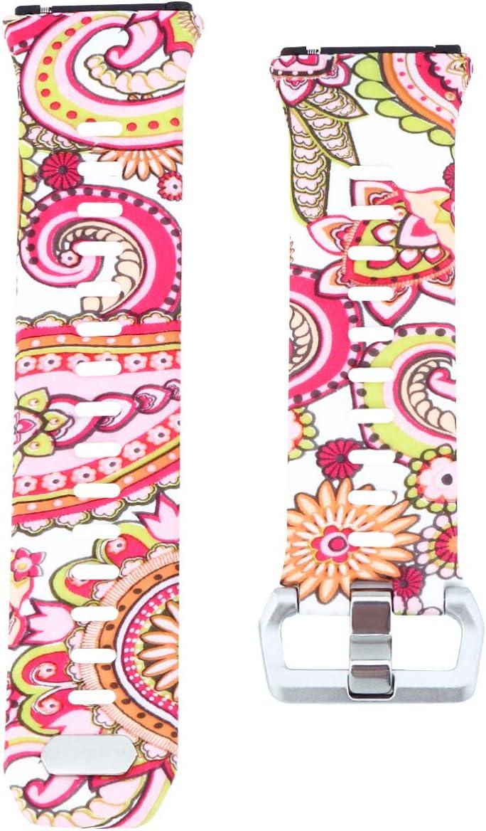 Baluue Compatible con Fitbit Ionic Band - Correa de Reloj de Impresión de Silicona Correa Deportiva de Reemplazo para Mujeres Hombres (Patrón Rojo)