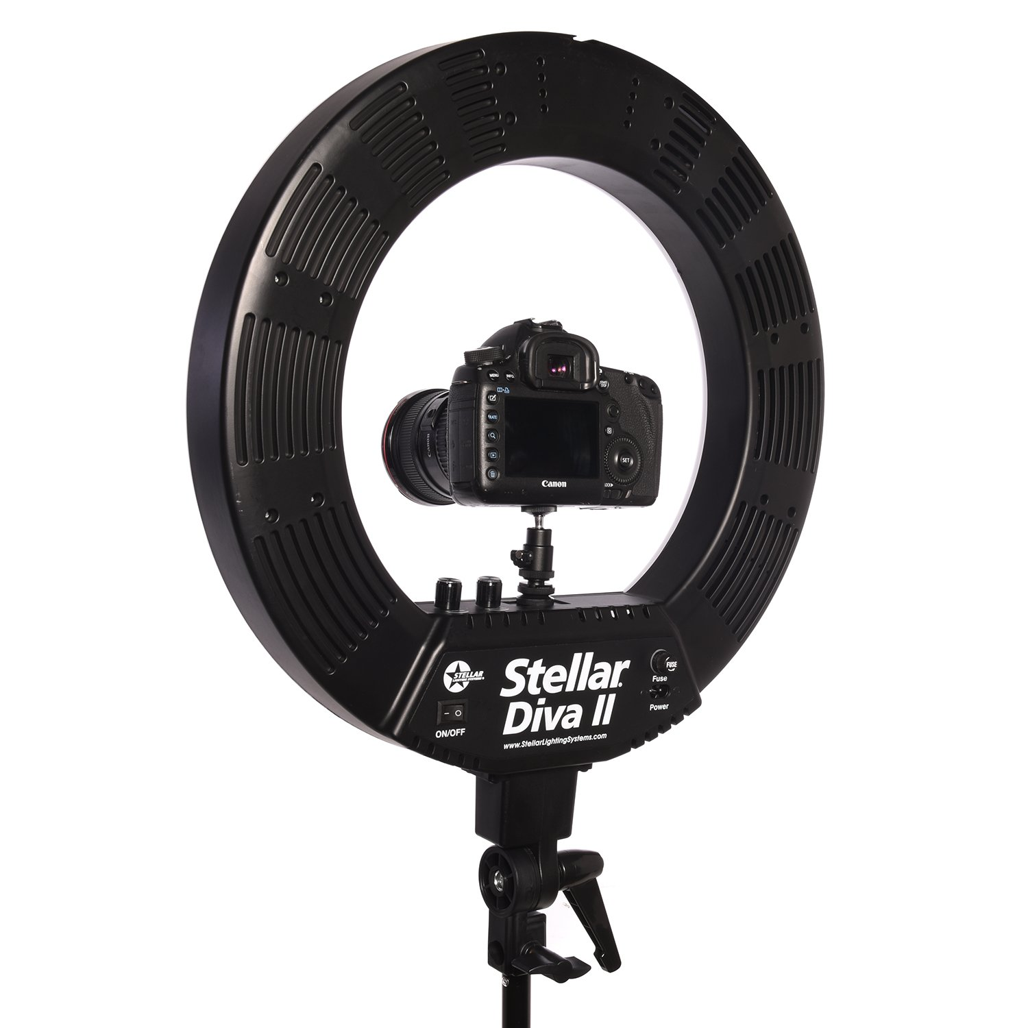 Stellar 18'' LED Diva II Ring Light (Black) w/Wireless Bluetooth Camera Shutter Remote Control for IOS & Android Phones and Universal Smartphone Tripod Mount & Adapter For Most Smartphones by Calumet (Image #3)