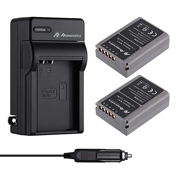 Powerextra 2 Pack Battery and Charger for Olympus BLN-1, BCN-1 and Olympus OM-D E-M1, Olympus Pen F, OM-D E-M5, Pen E-P5, OM-D E-M5 Mark II