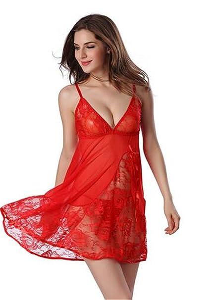 Boowhol-Pijamas Ropa Casual de las Mujeres Ropa interior Sexy conjunto Perspectiva de Encaje Profunda