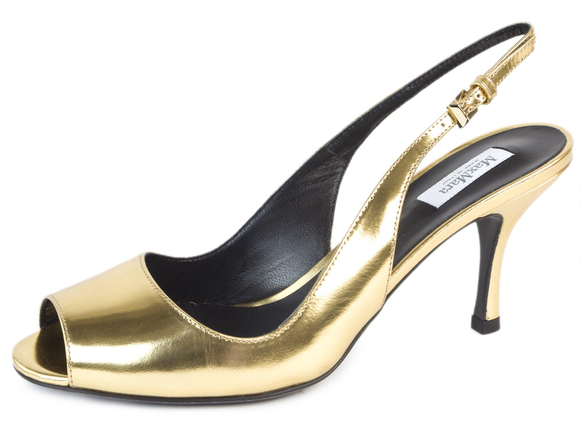 MaxMara Women's Capara Leather Slingback Pumps US 7/IT 37 Gold