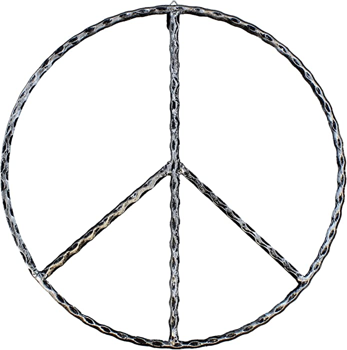 "Old River Outdoors Large Metal Peace Sign Wall Decor Art - 16"" Rustic Hippie Plaque"