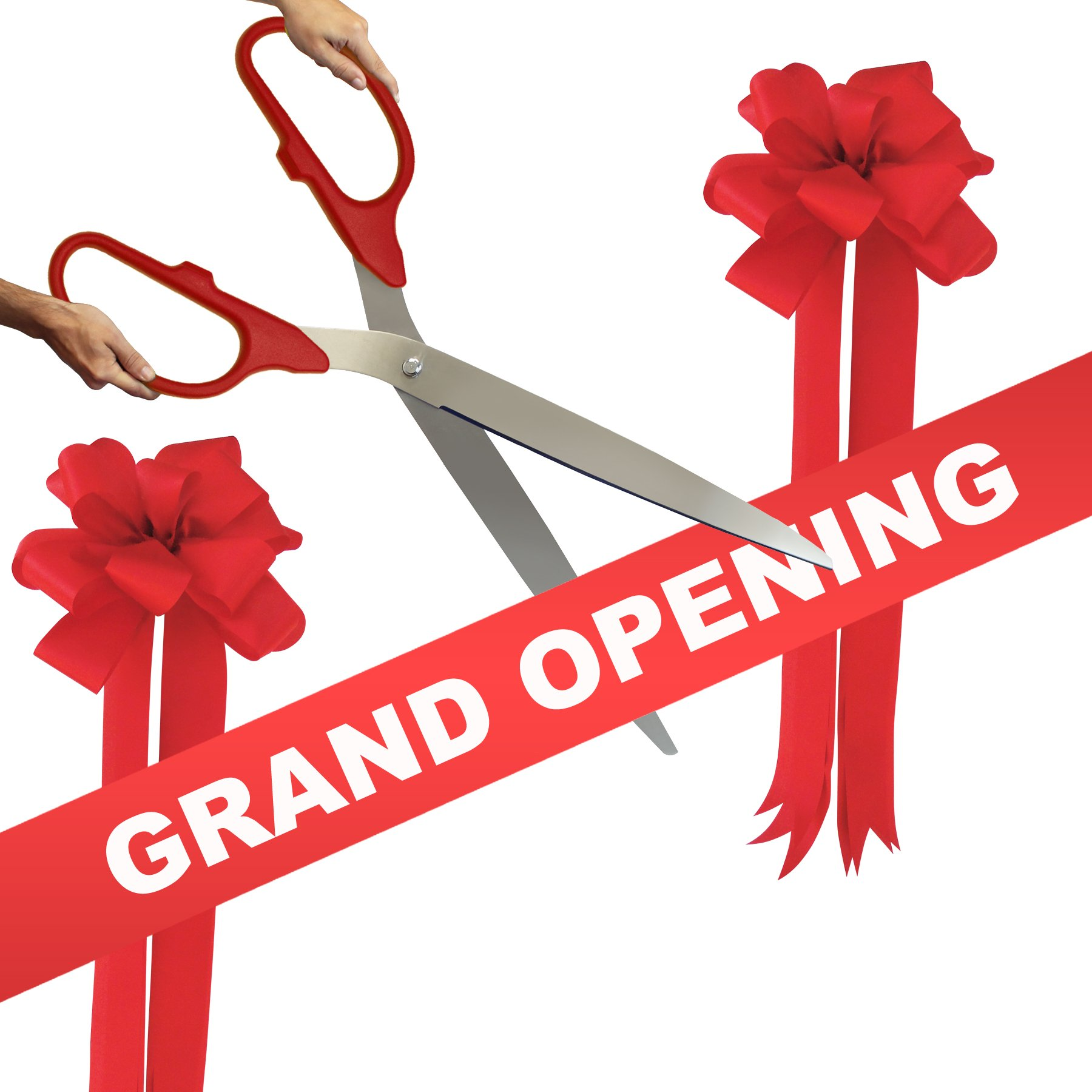 Grand Opening Kit - 36'' Red/Silver Ceremonial Ribbon Cutting Scissors with 5 Yards of 6'' Red Grand Opening Ribbon and 2 Red Bows