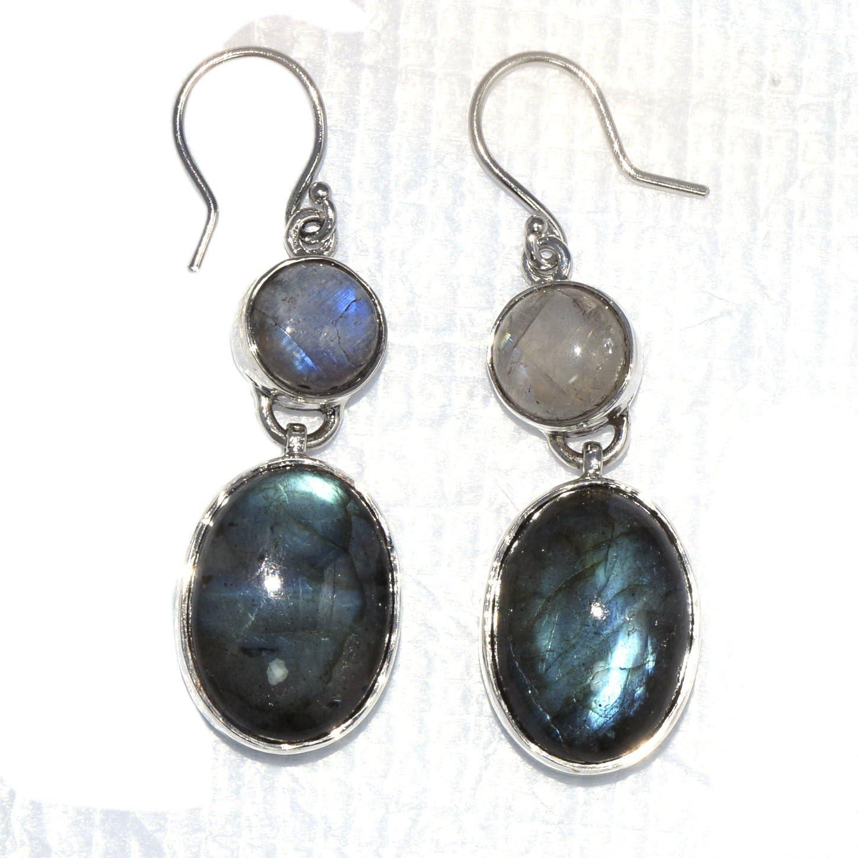 Shine Jewel Pendientes colgantes de labradorita de cabina redonda de plata de ley 925 con piedra lunar colgantes para mujer Redondo Piedra de la luna