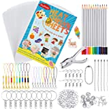 Auihiay 198 Pieces Shrink Plastic Kit Include 20 Sheets Shrinky Art Paper, Hole Punch, Keychains Accessories and Pencils…