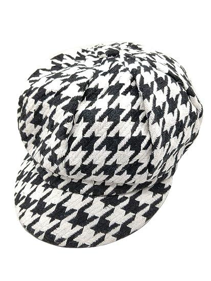 4432607e1 Ahugehome Women Girl Newsboy caps Hat Visor Beret Wool Tweed Plaid Tartan