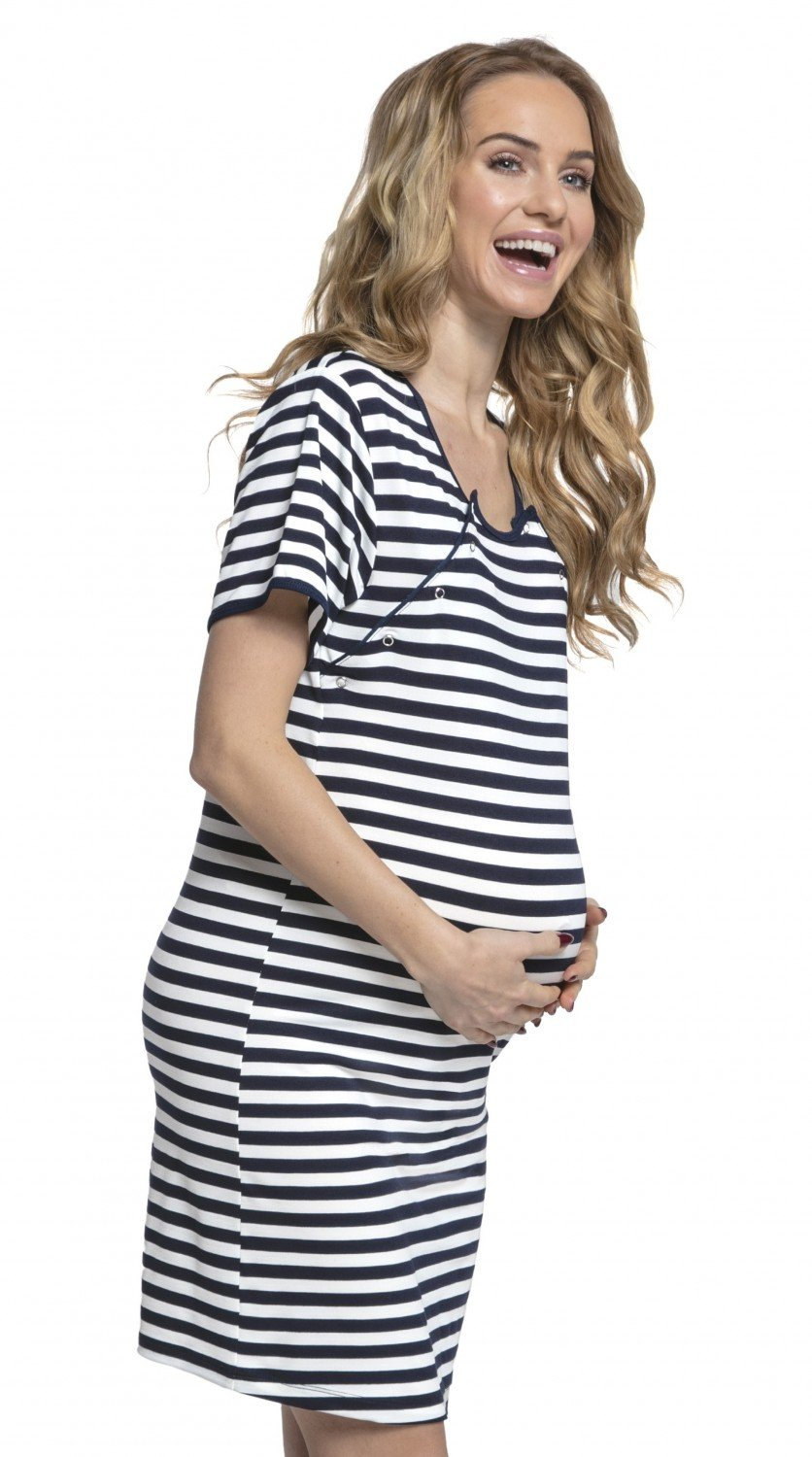 HAPPY MAMA Women's Maternity Hospital Gown Nightie Stripes Labour and Birth. 078p pregnight_078