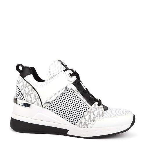 MICHAEL by Michael Kors Georgie Bright White Zapatilla de Cuero y Malla Blanco, Zapatillas de Mujer: Amazon.es: Zapatos y complementos