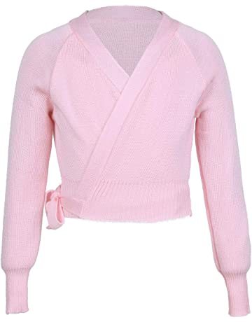 f8f306beaf Freebily Girls Ballet Dance Cross-over Cardigan Knit Wrap Top Warm-up  Dancewear Sweater