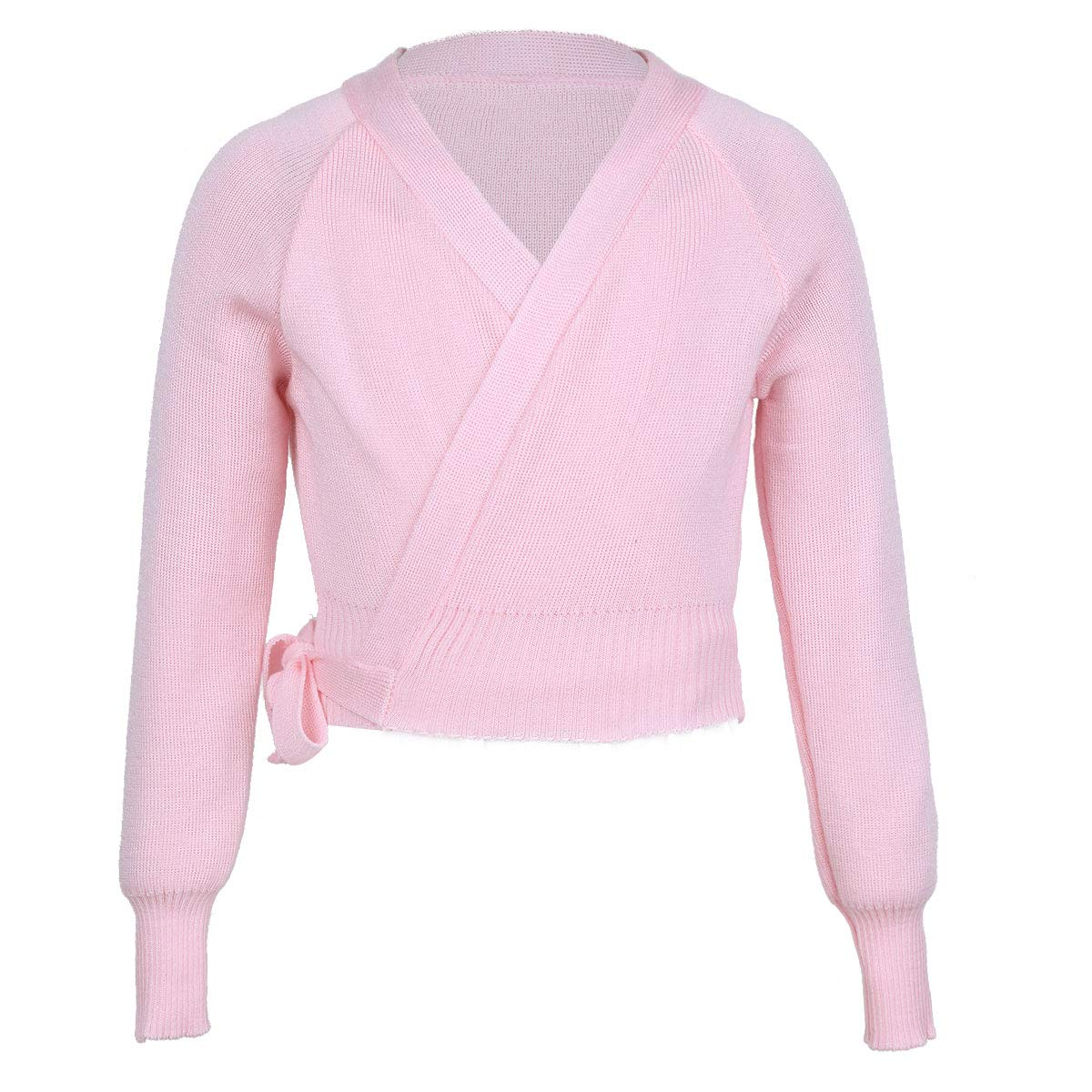 iEFiEL Girls Front Twist Knot Long Sleeve Ballerina Dance Cotton Wrap Top Pink Knit Wrap 9-10 by iEFiEL