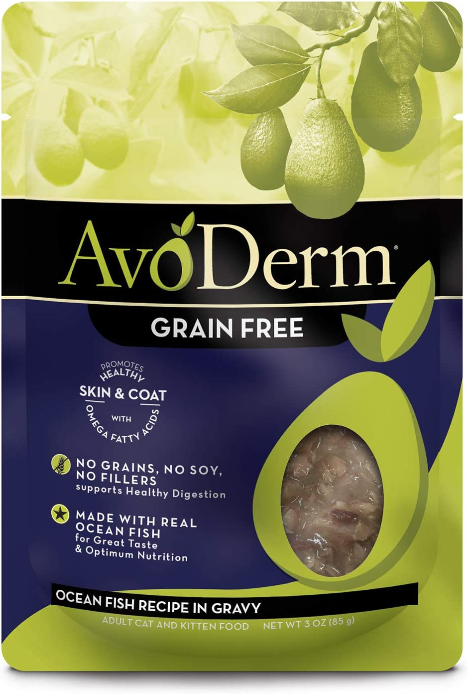 Avoderm Natural Grain Free Ocean Fish Recipe In Gravy Pouch Wet Cat Food, 3-Ounce Pouch , Case Of 24