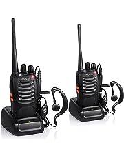 Proster Walkie Talkie Recargable 16 Canales CTCSS DCS Talkie walkie con el Auricular Incorporado Antorcha de LED y Cargador USB (2 PCS)