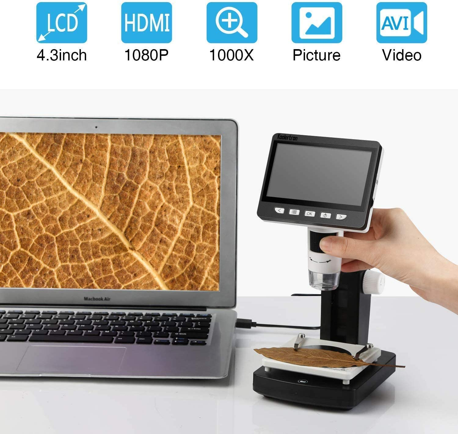 50 X 1000 X Magnification Camera Video Recorder for Windows 8 LEDs 4.3 Inch Digital USB Microscope NA Loadfckcer LCD Microscope