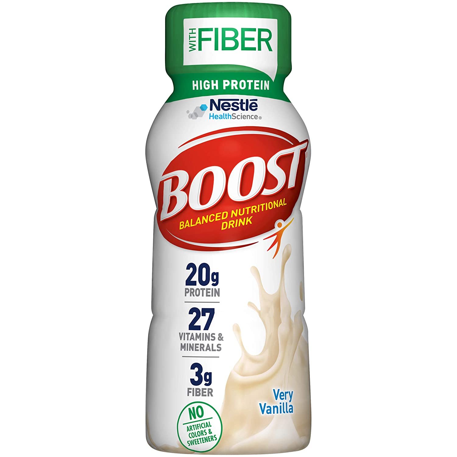 BOOST High Protein with Fiber Complete Nutritional Drink, Very Vanilla, 8 Ounce Bottle (Pack of 24)