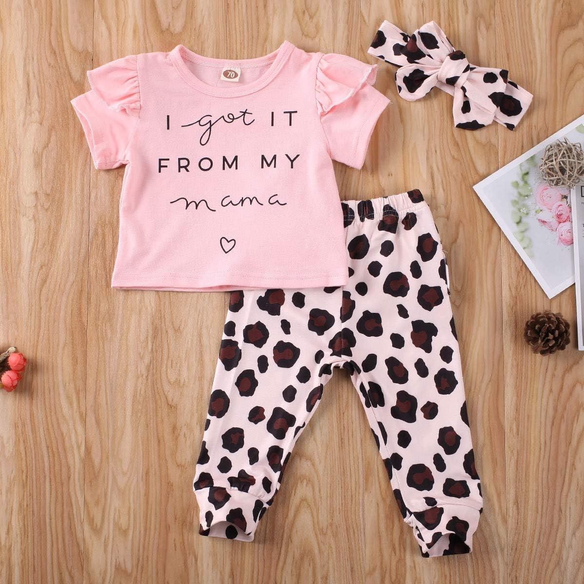 lheaio Newborn Baby Girls I Got It from My Mama Ruffle Short Sleeve T-Shirt Tops Leopard Pants Headband Clothes Sets