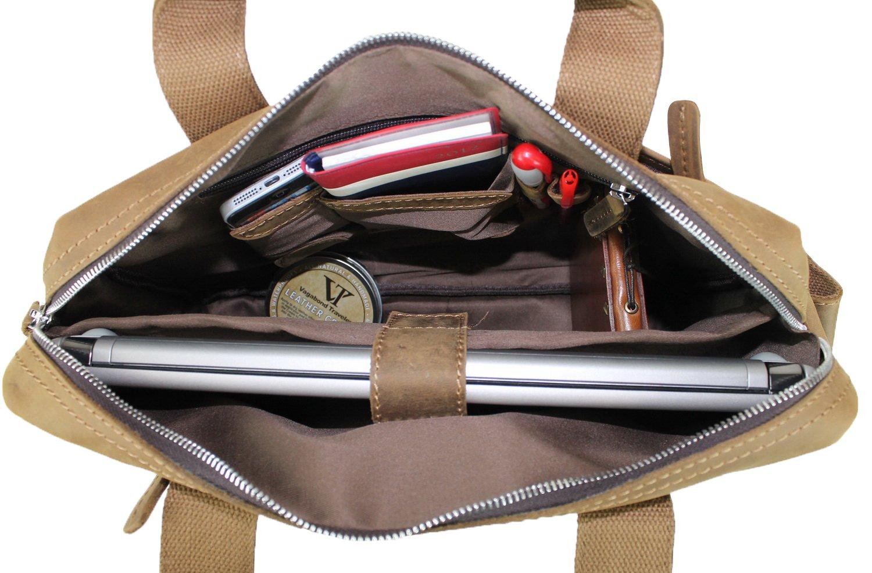 Vagabond Traveler 15'' Classic Fine Leather Messenger Bag Daily Bag L29. Distress by Vagabond Traveler (Image #3)