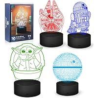 Star Wars Nachtlampje, 16 kleurwisselende 3D-decoratieve lamp met afstandsbediening, perfect speelgoed cadeau voor Star…