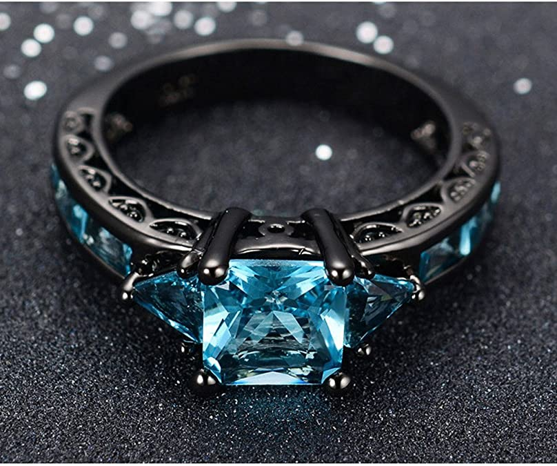 Luxussay Elegant Cut Emerald Green Sapphire Black Gold Filled Engagement Ring