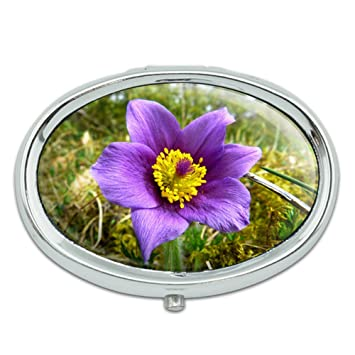 pasque flower south dakota state flower metal oval pill case box