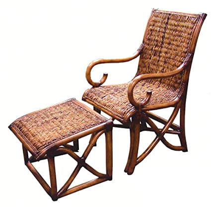 Delicieux Hemingway All Natural Rattan And Wicker Chair And Ottoman Set