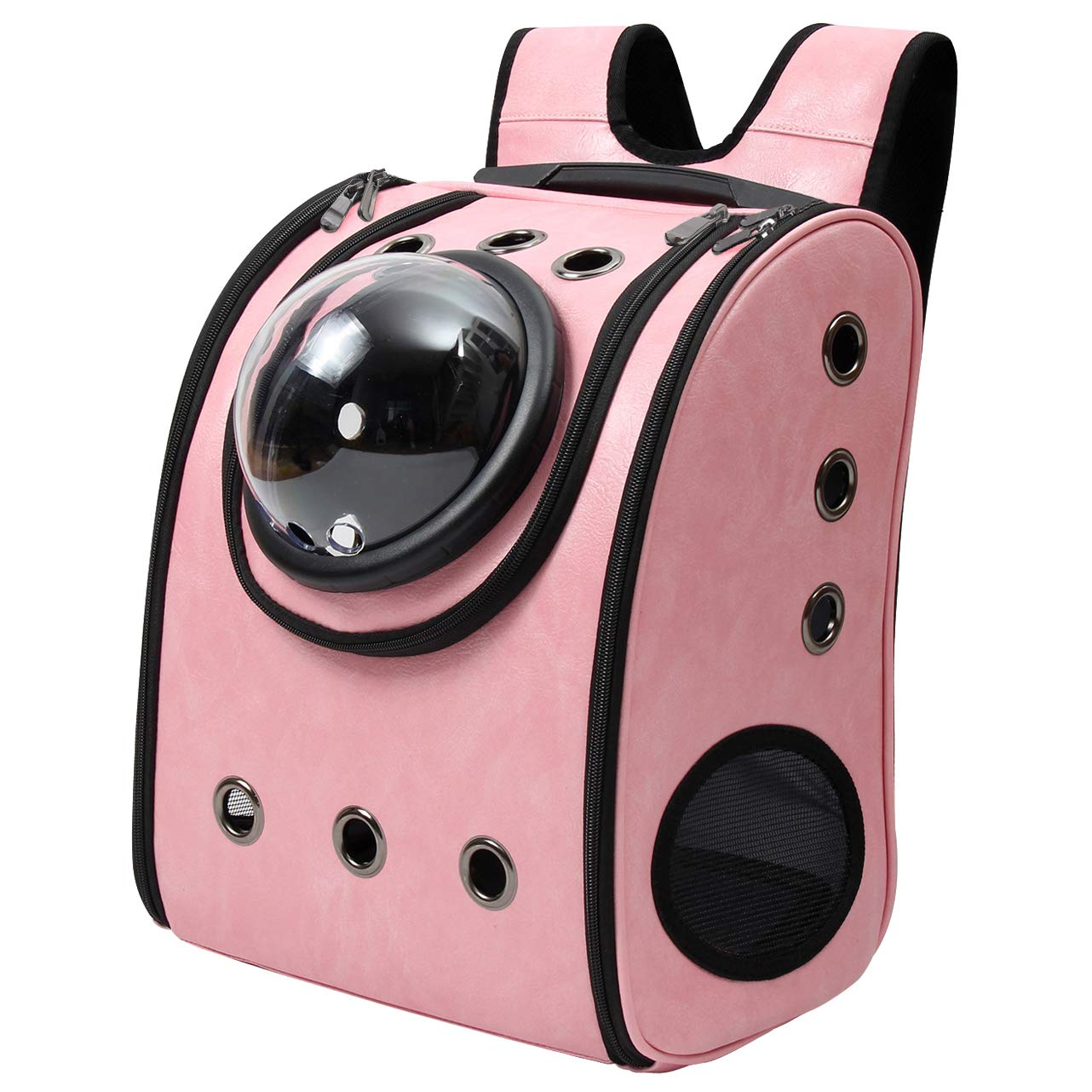 Delang001pink Delang Traveler Bubble Backpack Pet Rectangle Carriers Airline Travel Approved Carrier Switchable Mesh Panel for Cats and Dogs Brown