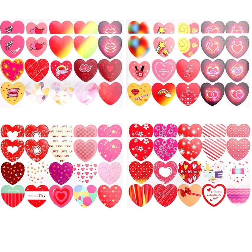 Longsing Adesivi Cuore Adesivi di San Valentino San Valentino o Art Craft Project Adesivi Decorativi per Adulti o Bambini 120 Pezzi
