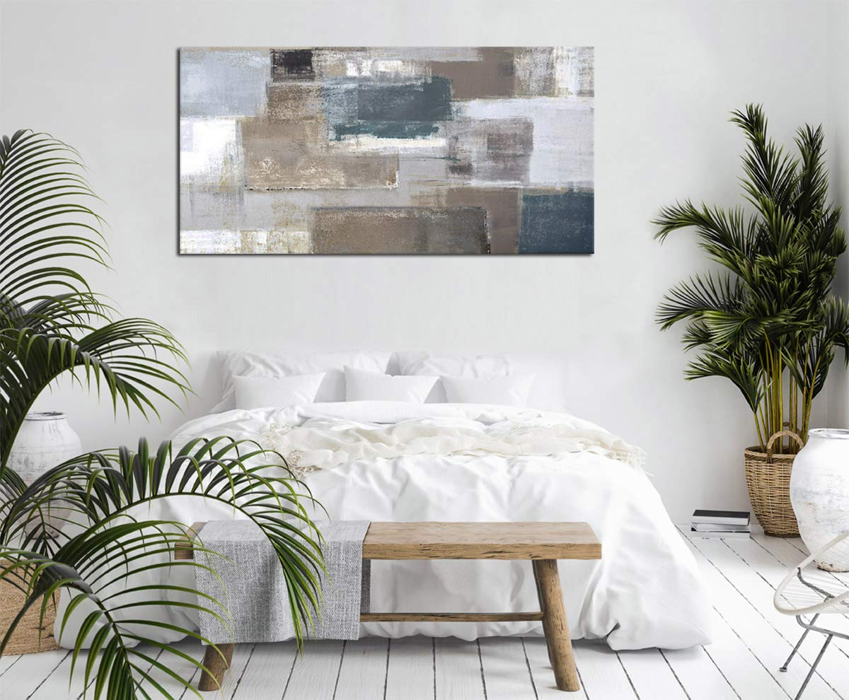 Canvas Wall Art Abstract Painting Prints New York Skyline Reflection in Water Modern Canvas Artwork Panoramic Landscape Contemporary Wall Art Pictures Grey Blue for Home Office Decoration 20 x 40