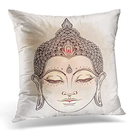 Amazon Sdamase Throw Pillow Cover Head Buddha Over Vintage Beauteous Buddha Decorative Pillows