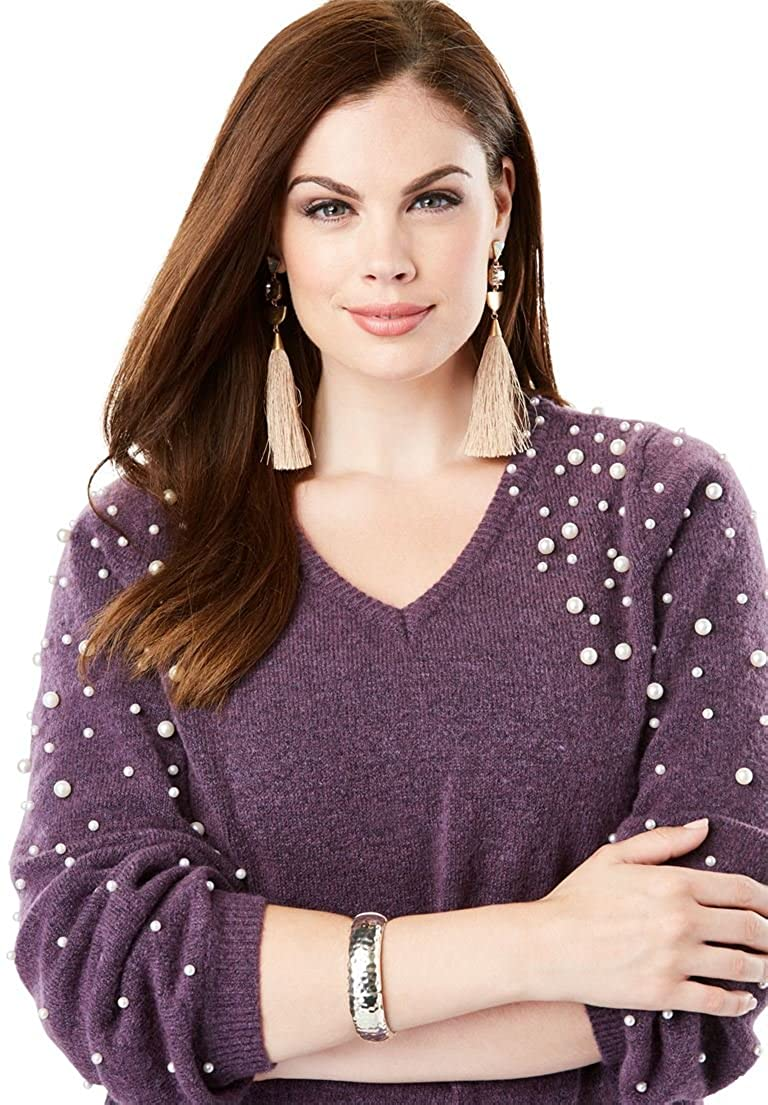 Roamans Women's Plus Size Embellished Pullover Sweater Blouson Sleeves