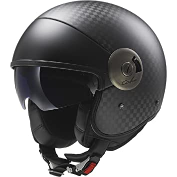 LS2 Helmets Cabrio Carbon Open Face Motorcycle Helmet with Sunshield (Black, Small)
