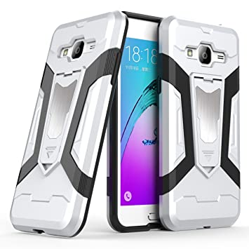 Galaxy J3 Case, Galaxy Express Prime Case, Galaxy Amp Prime Case, Ranyi [3  Piece Full Body Armor] [Built-in Kickstand] [Shock Absorbing] Metal Texture