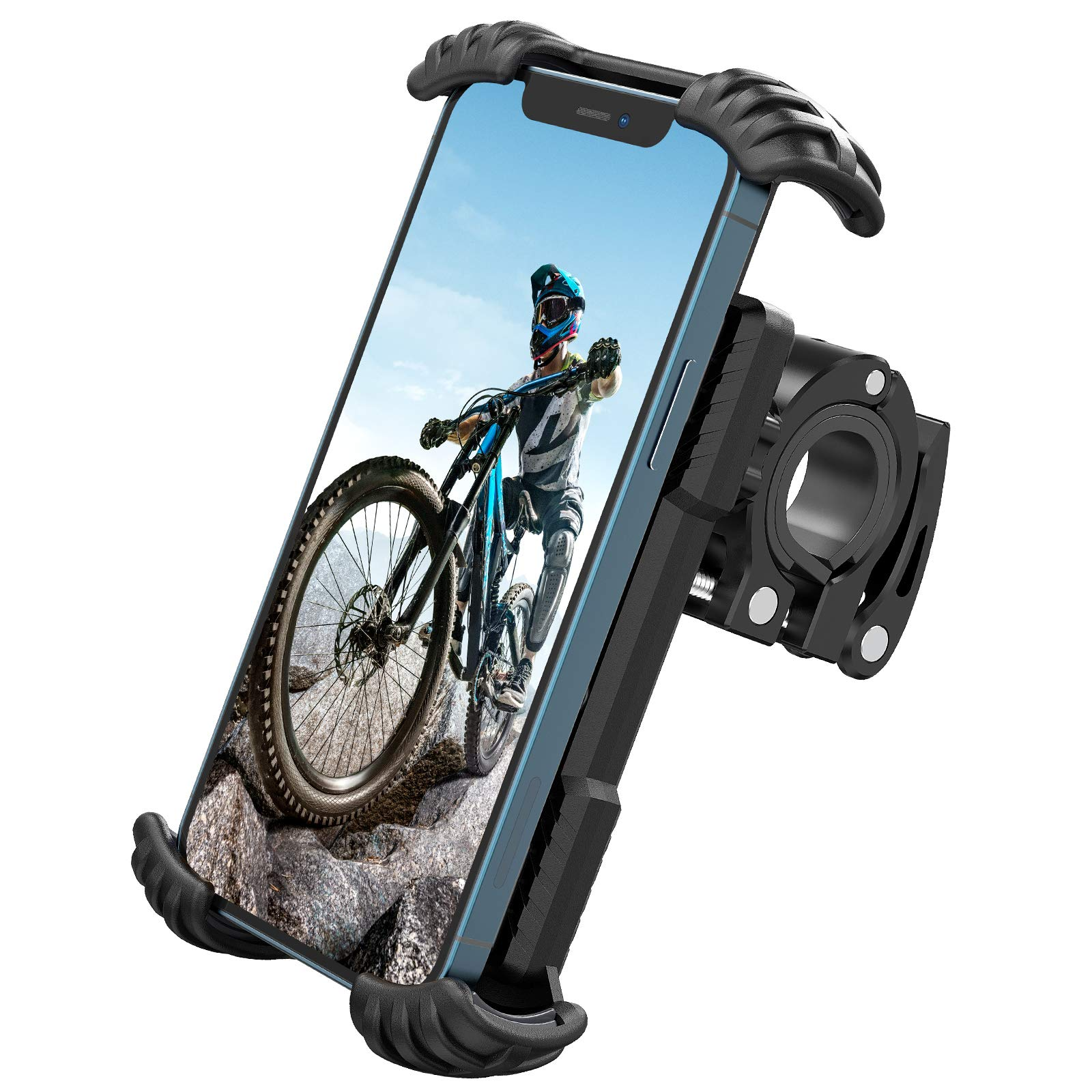 "Nulaxy H18 Bike Phone Mount, Bicycle Phone Holder - Handlebar Adjustable Motorcycle Cell Phone Mount Clamp, Compatible with Phone 12 / Phone 11 Pro Max, S9, S10, S20+ and More 4.7"" - 6.8"" Devices"