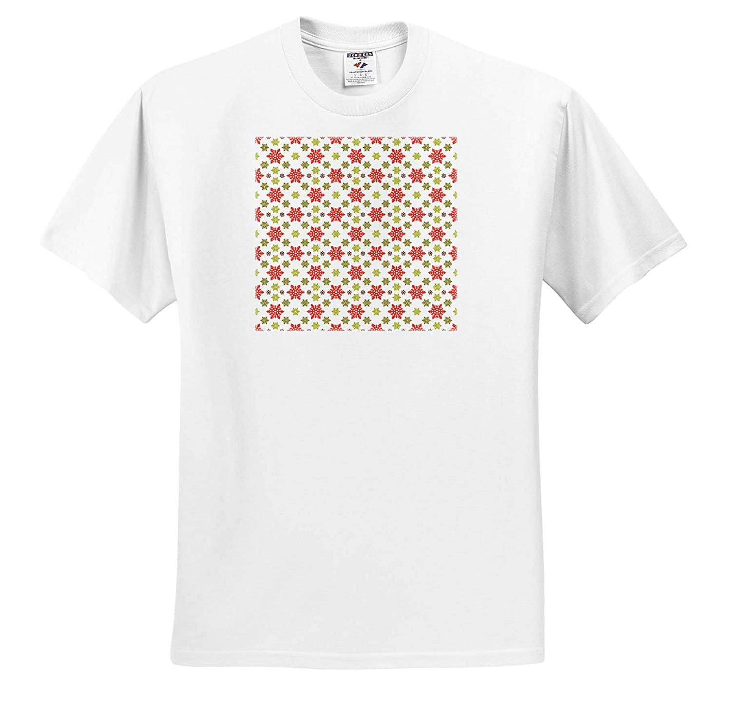 Cute Red and Green Big and Little Snowflake Pattern ts/_318537 Christmas Adult T-Shirt XL 3dRose Anne Marie Baugh
