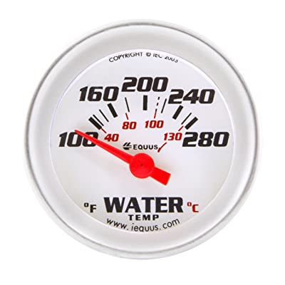"Equus 8262 2"" Electric Water Temperature Gauge, White with Aluminum Bezel: Automotive"