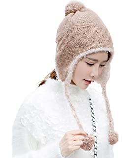 262fe9472eb920 Siggi Womens Cable Knit Peruvian Wool Hats Pom Pom Beanie with Earflap Snow  Cap Camel