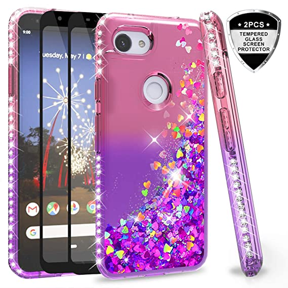 buy popular 974f0 0f3a4 Google Pixel 3a XL Case (Not fit Pixel 3a) with Tempered Glass Screen  Protector [2 Pack] for Girls Women, LeYi Glitter Bling Liquid Clear Phone  Case ...
