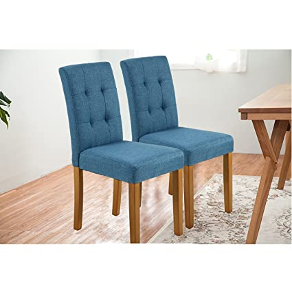Amazon Com Lsspaid Classic Fabric Parson Dining Chairs With Solid