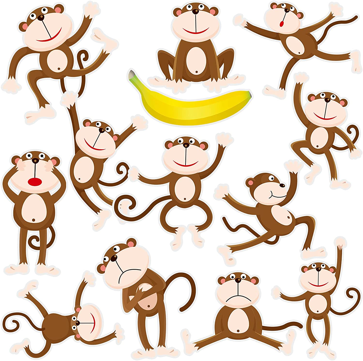 48 Pieces Monkeys Cut-Outs Banana Cutouts Jungle Animals Cutouts with 5 Sheet Glue Point Dot for Jungle Theme Party Games Calendars Bulletin Boards Classrooms Learning Spaces Decor