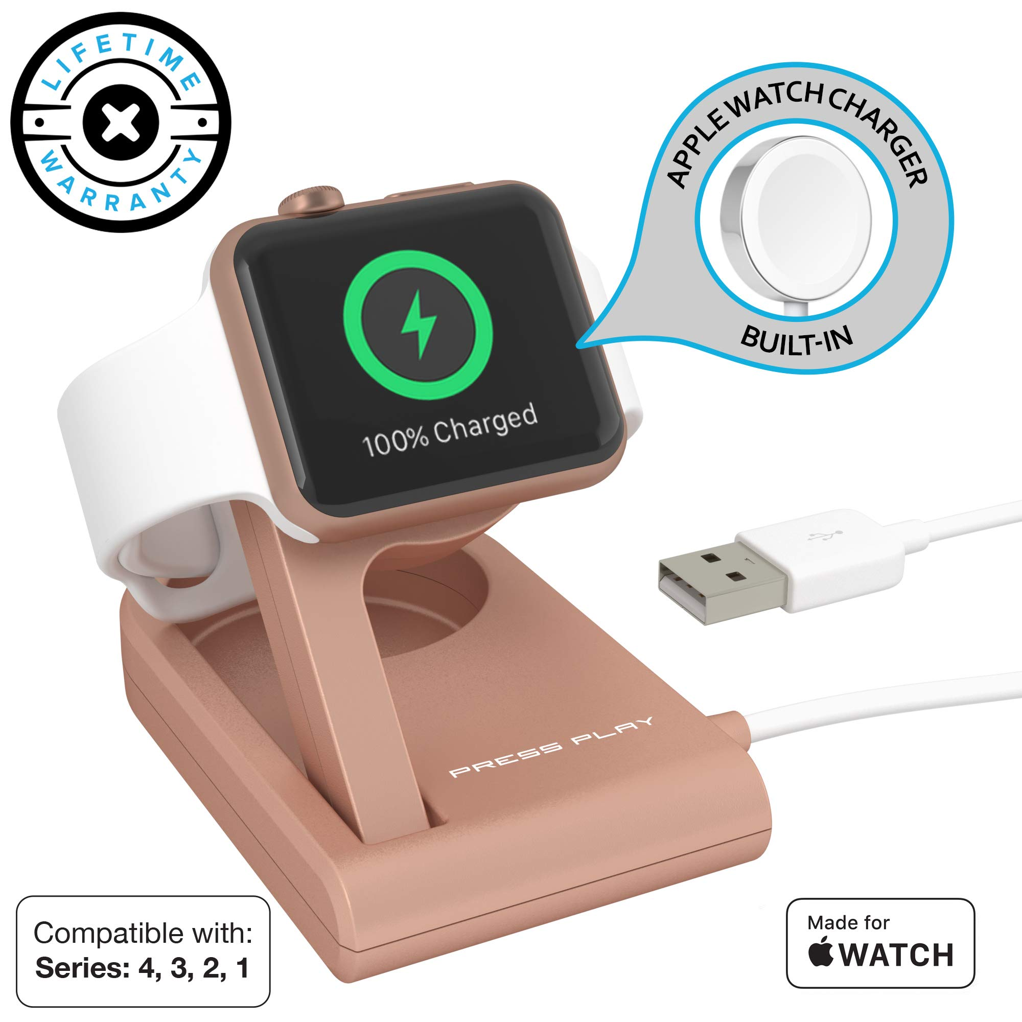 Apple Watch Charger (APPLE CERTIFIED) ONE Dock SOLO, Built-in Original Magnetic Charging Puck Cable + Adjustable Stand for 38mm/40mm/42mm/44mm Apple Watch Series 1, 2, 3, 4 (Rose Gold) by Press Play