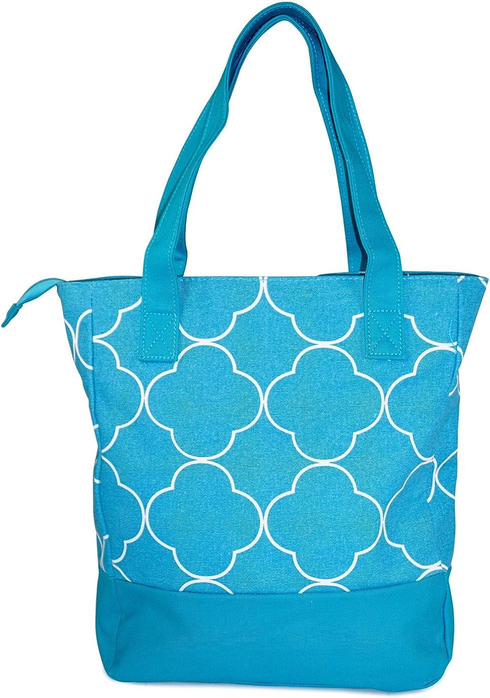 Ever Moda Quatrefoil Canvas Tote Bag